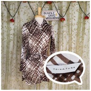 TRINA TURK WHITE BROWN LONG SLEEVE SASH MINI DRESS